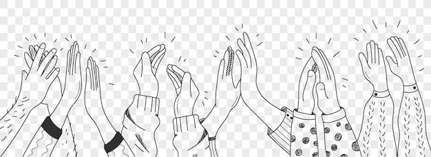 손으로 그린 박수 인간의 손 낙서 세트. 박수 갈채. 인간의 손에 박수입니다.