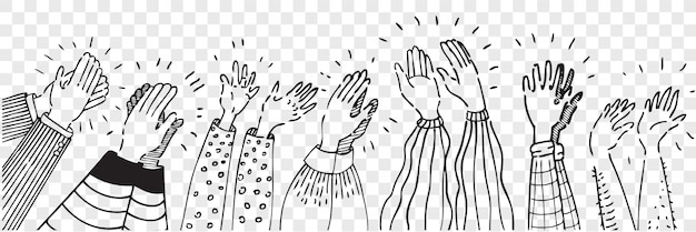 Hand drawn clapping human hands doodle set. collection pencil chalk drawing sketches men women raising arms making applause isolated