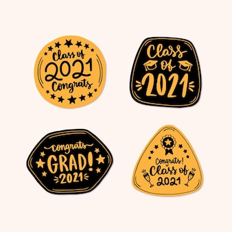 Hand drawn class of 2021 badge collection
