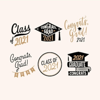 Hand drawn class of 2021 lettering badge collection