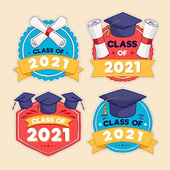 Hand drawn class of 2021 lettering labels collection Free Vector