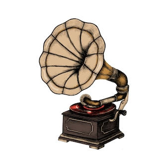 Hand drawn classic phonograph
