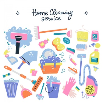 Hand drawn cleaning service tools concept. cleaning equipment symbols.