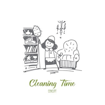 Hand drawn cleaning time concept sketch illustration
