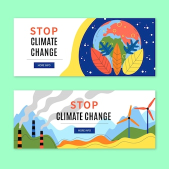 Modello di banner per il cambiamento climatico disegnato a mano Vettore gratuito