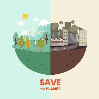 Concetto di cambiamento climatico disegnato a mano illustrato