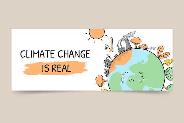 手描きの気候変動facebookカバー