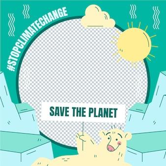 Hand drawn climate change facebook frame