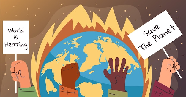 손으로 그린 기후 변화 페이스 북 게시물