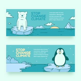Set di banner orizzontali disegnati a mano sul cambiamento climatico