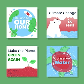 Hand drawn climate change instagram posts