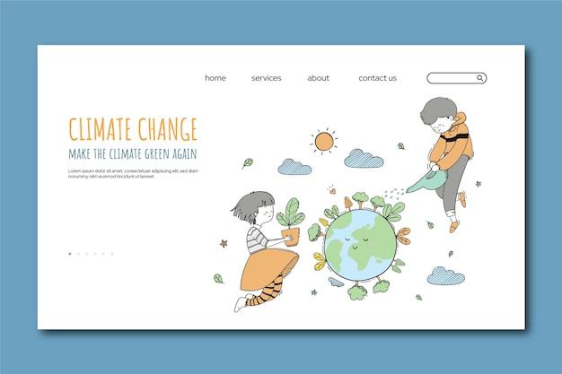 Pagina di destinazione del cambiamento climatico disegnata a mano