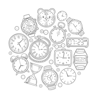 Hand drawn clock, wrist watch doodles time vector concept. illustration of time clock and wrist watch sketch