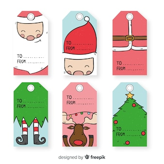 Hand drawn close up characters christmas labels