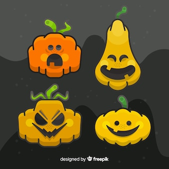 Hand drawn close-up halloween pumpkin collection