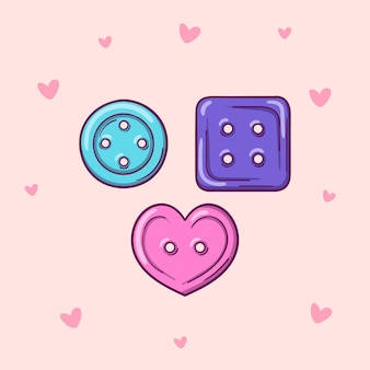 Hand drawn clothing buttons vector illustration isolated on pink background with hearts