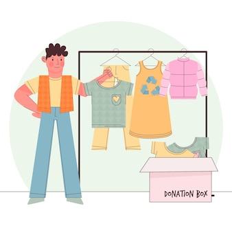Concetto di donazione di abbigliamento disegnato a mano