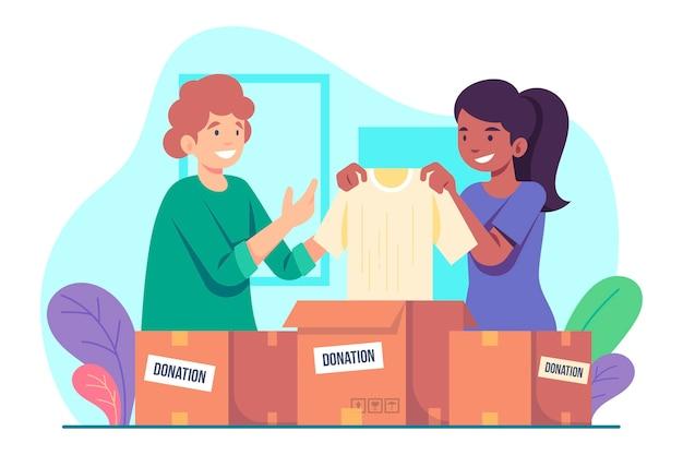 手描きの衣類の寄付の概念