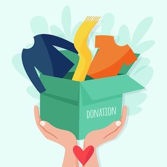 Нарисованная рукой иллюстрация пожертвования одежды
