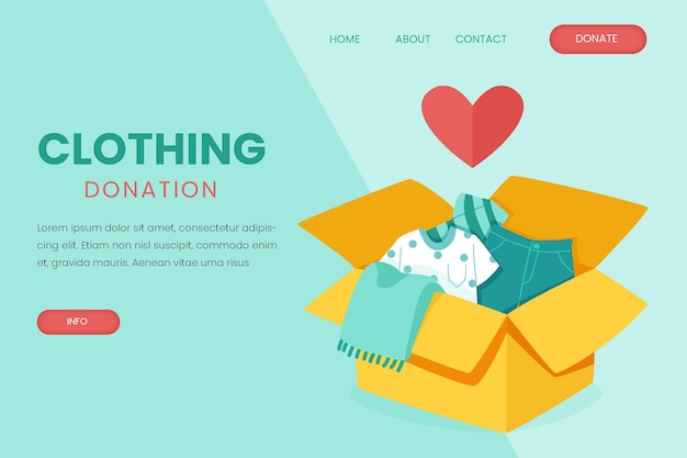 Hand drawn clothing donation landing page