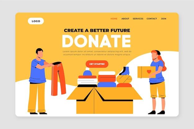 Pagina di destinazione della donazione di abbigliamento disegnato a mano