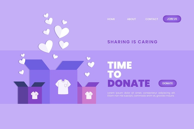 Hand drawn clothing donation web template