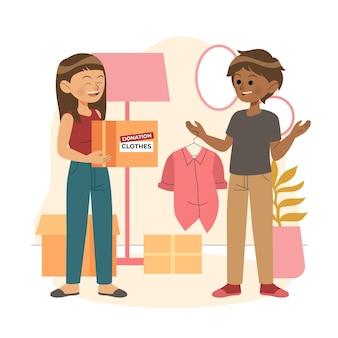 Пожертвование рисованной одежды