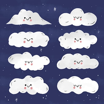 Hand drawn cloud collection