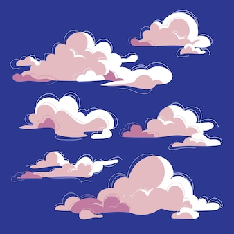 손으로 그린 구름 컬렉션