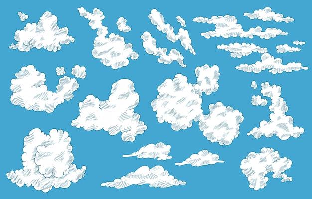 Ручной обращается облака в мультяшном стиле. коллекция неба каракули. иллюстрация на синем фоне.