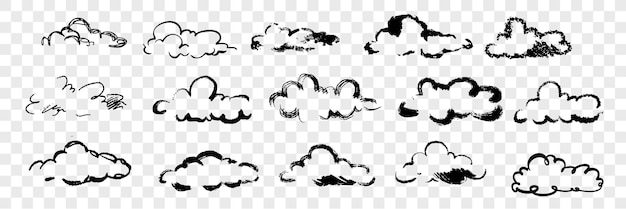 Hand drawn clouds set collection. various pen or pencil, ink or brush hand drawn clouds. sketch of different form sky element isolated.