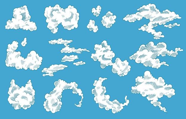 Набор рисованной облака. винтажный ретро дизайн неба. гравированный эскиз. абстрактные облака каракули.