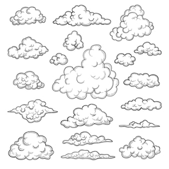 Hand drawn clouds. weather graphic symbols decorative sky vector nature objects cloud collection. illustration cloud weather, cloudy forecast