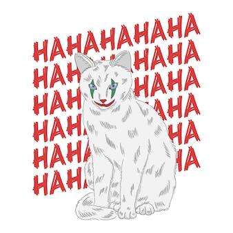Рисованная иллюстрация кошки клоуна