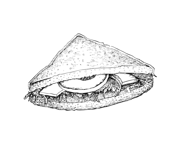 Hand drawn of club sandwich or clubhouse sandwich
