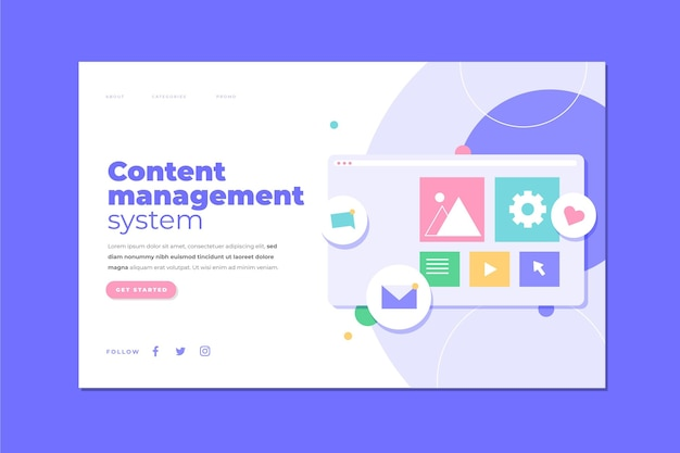 Hand drawn cms concept landing page illustrated