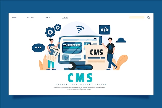 Hand drawn cms concept landing page template