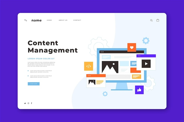 Hand drawn cms concept landing page