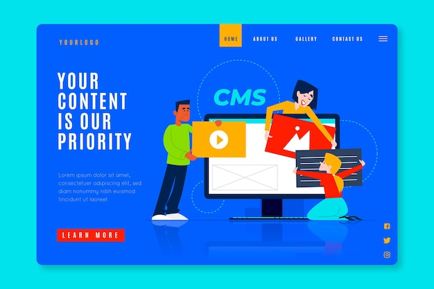 Hand drawn cms web template