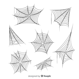 Hand drawn cobweb collection on white background