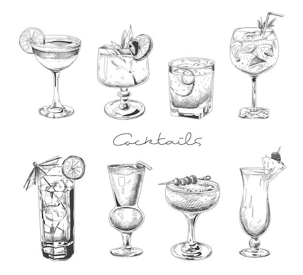 Ручной обращается коктейль. алкогольные напитки в очках. эскиз сок, маргарита мартини. коктейль с ромом, набор векторных джин виски.