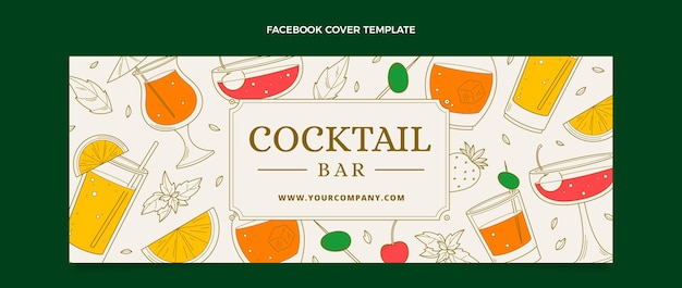 Hand drawn cocktail bar facebook cover