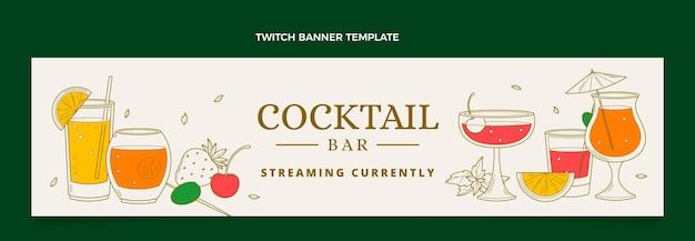 Hand drawn cocktail bar twitch banner