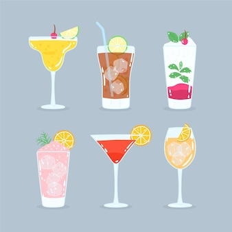 Hand-drawn cocktail collection concept