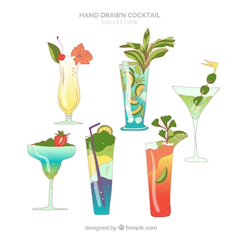 Рисованная коллекция коктейлей