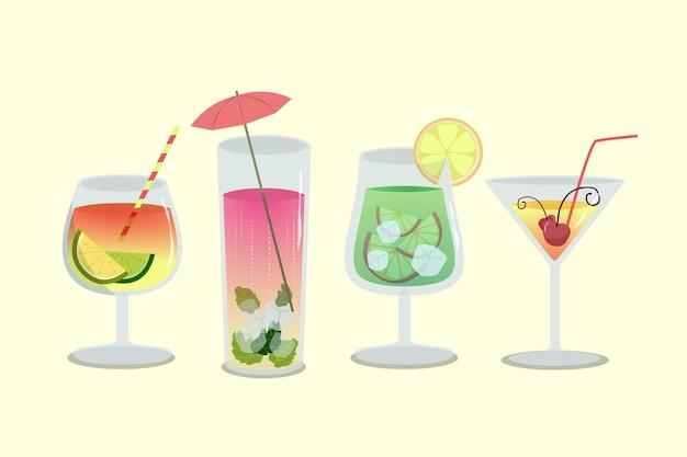 Коллекция рисованной коктейль