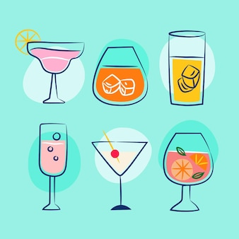 Hand drawn cocktail collection