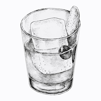 Bevanda cocktail disegnata a mano