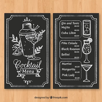 Hand drawn cocktail menu template with elegant style
