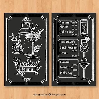 Modello di menu cocktail disegnato a mano con stile elegante